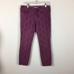 Free People Purple Floral Patterned Skinny Jeans